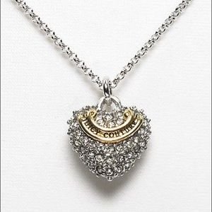 Juicy Couture Silver Wish Pave Heart Necklace